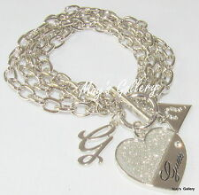 GUESS ??? Jeans Rhinestones  Logo Bangle  Bracelet Silver Tone Charms Heart  NWT