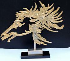 Grande statue sculpture anonyme en alliage de plomb doré libre tête de cheval