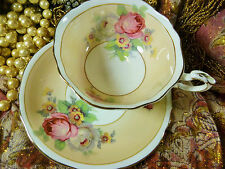 PARAGON  TEA CUP AND SAUCER  TAUPE HP PINK & WHITE ROSES FLORAL GOLD TRIM 1939