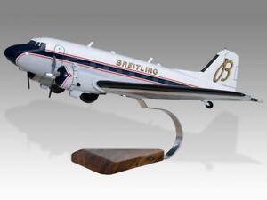 Douglas DC-3A Breitling HB-IRJ Solid Dry Wood Replica Airplane Desktop Model