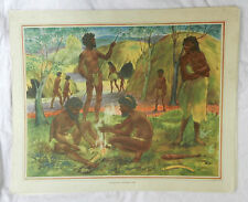 Vintage Schools Poster - Aborigines Making Fire -  c 1920s - 1930s