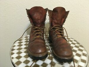 RED WING USA VINTAGE IRISH SETTER BROWN LEATHER LACE UP WORK BOOTS 9 A