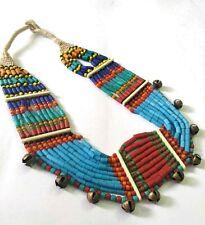 Banjara Necklace Naga Tribal Tibetan India Ethnic Jingle Bell Glass Beads Rare