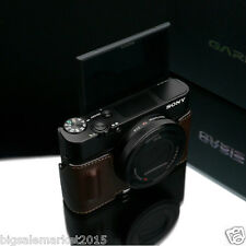 New GARIZ Sony RX100M5 Genuine Leather Half Case Brown For DSC-RX100 V RX100M5