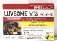 Luvsome Dogs Kills Fleas Ticks and Lice 89-132 lbs 3 Applications.   3C37