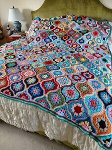 Handmade large Crochet blanket in  Janie Crow famous Lantern Design