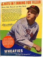 1938 Wheaties Panel Series 10,#1 of 16 Baseball,Bob Feller,Cleveland Indians Gd