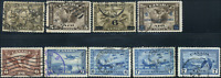 Canada #C1-C9 used F-VF/VF 1928-1946 Airmail Issue Set loaded with CDS cancels