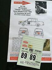DECALS 1/24 RENAULT 8 GORDINI THERIER RALLYE MONTE CARLO 1969 RALLY WRC HASEGAWA