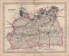 1875 ANTIQUE CRUCHLEY COUNTY MAP RAILWAYS, STATIONS SURREY REIGATE CHERTSEY