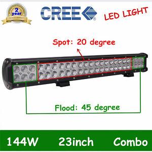 23INCH 144W LED Light Bar SPOT FLOOD Beam FOR CAR ATV Ford VAN Driving LAMP Boat