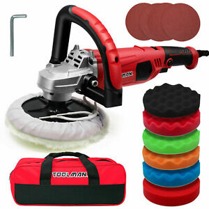 Toolman 7-inch Buffer Polisher,10A,6 Variable Speed with 6PC Polishing Pads