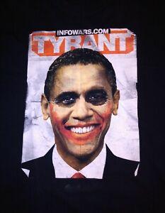 """Infowars """"Barack Obama Tyrant"""" Joker T-shirt Men's Size Large"""
