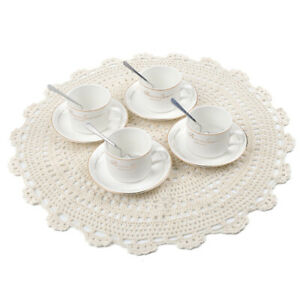 Round Handmade crochet Table mat Idyllic Coaster Insulated Plate Pad Table Pad