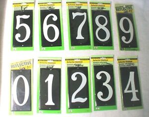 """Set of 10 HY-KO Reflective House Number 3 1/2 """" w/Fasteners 0-9 """"New in Package"""""""