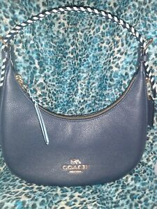 Coach NWT Leather Purse 💦 Whipstitch Bailey Hobo 💦 Midnight Waterfall C4108