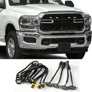 4X For Ram 2500 2019-2021 Yellow Front Grille LED Amber Light Raptor Style Cover
