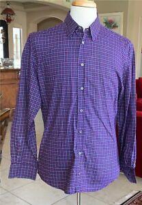 Men's GUCCI Red & Blue Plaid 100% Cotton Long Sleeve Shirt