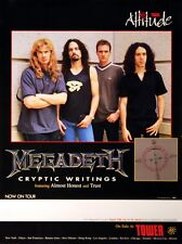 Megadeth 1997 Cryptic Writings Original Concert Poster