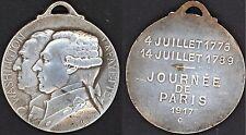 Jeton Journée de Paris 1917, Washington - Lafayette. Gravé Gaston Lavrillier