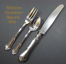 Wilkens Dresdner Barock 800 Silber Besteck Messer,Teelöffel,Kuchengabel NP 389 €