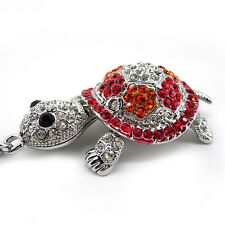 Super Lovely Red Tortoise Turtle Animal Czech Crystal White Gold-plated Necklace