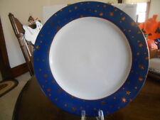 """Galaxy Dinner Plate (s) 10 1/2"""" Navy 14k Gold Stars Sakura Fine Porcelain White"""