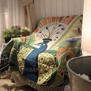 Peacock Nap Chair Blanket Tapestry Carpet Mat Home Bar 120*150cm/47*59inch