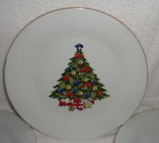 "Sea Gull Fine China Jian Shiang Set of 4 10 1/2"" Dinner Plates Christmas Tree"