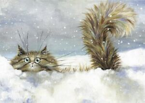 """""""In A Flurry"""" Greeting Card ~ Christmas ~ By Kim Haskins-Blank Card-Funny Cat"""