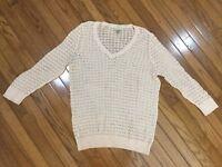 Ann Taylor LOFT Sheer 3/4 Sleeve V Neck Top Blouse Size L
