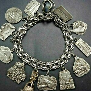 "Vintage STATE of OREGON Sterling Silver 12 CHARM 7"" BRACELET 64.8g HERITAGE CO"