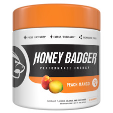 Honey Badger Performance Energy Natural Pre Workout for Men & Women Peach Mango