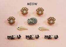 DRESS IT UP NOVELTY BUTTONS 9348 - CRAFTS CAKE-MAKING CARDS - CAT PAWS FISH MEOW
