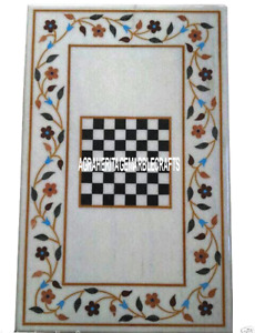 4'x2' Marble Chess Board Dining Table Inlay Play Game Marquetry Floral Art H3301