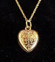 9 carat solid gold vintage Art Deco antique heart shaped pendant