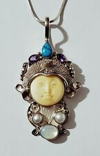 "Large Sterling Silver 3"" Moon Face Pendant w/ Turquoise, Amethyst with 20"" Chain"