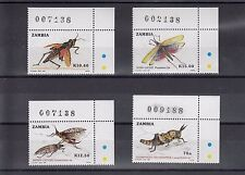 TIMBRE STAMP  4  ZAMBIE Y&T#473-76 INSECTE  NEUF**/MNH-MINT 1989 ~A23