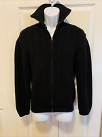 Vintage SRB De Luxe 100% Pure Wool Unisex Full Zip Black Sweater Western Germany