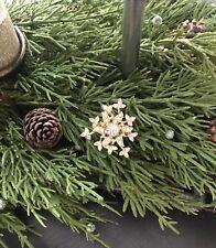 Vintage Gold And Rhinestone Snowflake Brooch Pin, Christmas Pin