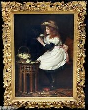 OIL PAINTING  HAVING GIRL & ON GUARD ROTTWEILER IN BACKROUND IMPORTANT WORK