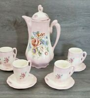 Beautiful Pale Pink Flowered Tea Pot with Lid 4 Cups and 4 Saucers