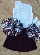 "Adult Maroon White Cheerleader Uniform Top Skirt Poms Socks 40-42/33-34"" Cosplay"
