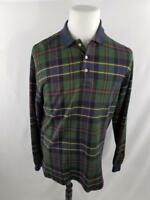 Ralph Lauren Polo Mens M Green Navy Plaid Flannel Long Sleeve Blue Shirt VTG Red