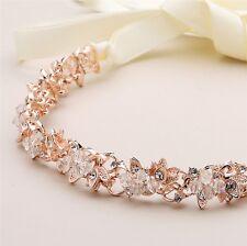Vintage Rose Gold Genuine Crystal Ivory Ribbon Bridal Wedding Prom Headband