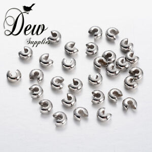 Brass Crimp Beads Covers, Platinum,5mm Bead Covers Knot Cover Findings Wholesale