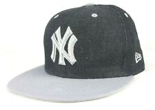 New Era 59Fifty New York Yankees Black Gray Embroidered Denim Fitted 7 5/8 Hat