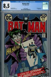 1973 DC Comics, BATMAN #251 CGC 8.5 White Pages w/ JOKER app. & CLASSIC COVER