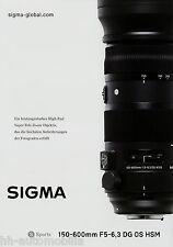 Prospekt 2014 Sigma Objektiv 150-600mm F5-6,3 DG OS HSM brochure lens broschyr