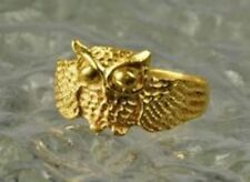LOOK Owl Full body 24kt gold plated ring jewelry bird silver